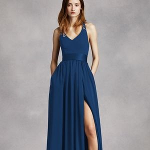 David's Bridal V-Neck Halter Dress with Belt